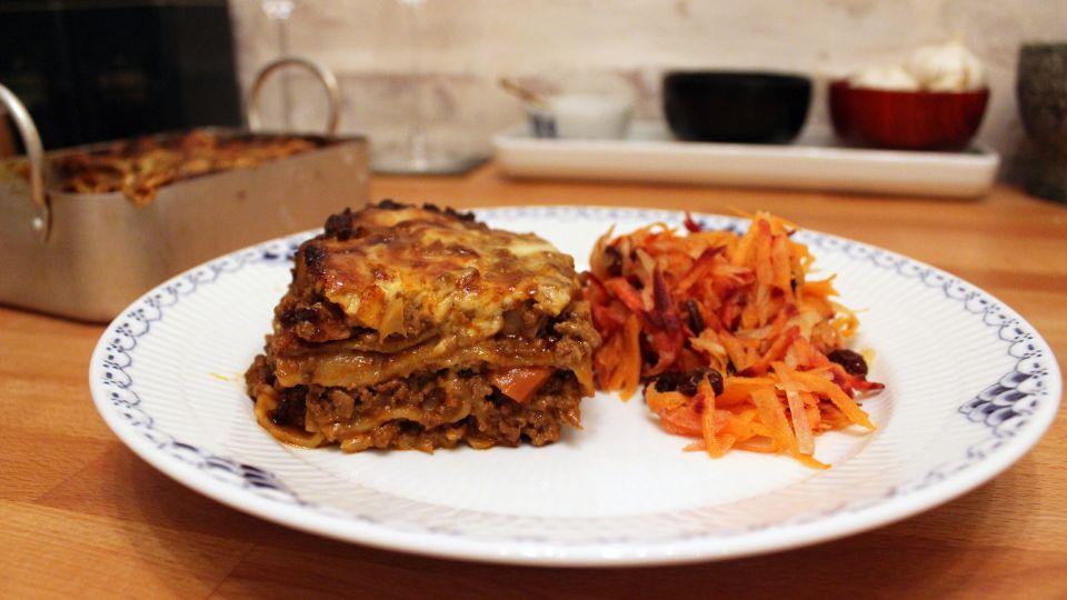 lasagne med gulerødder