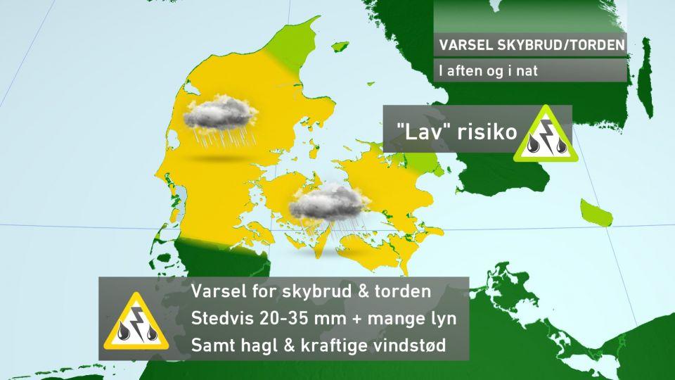 Skybrudsvarsel fra TV 2 VEJRET sent søndag aften og natten til mandag